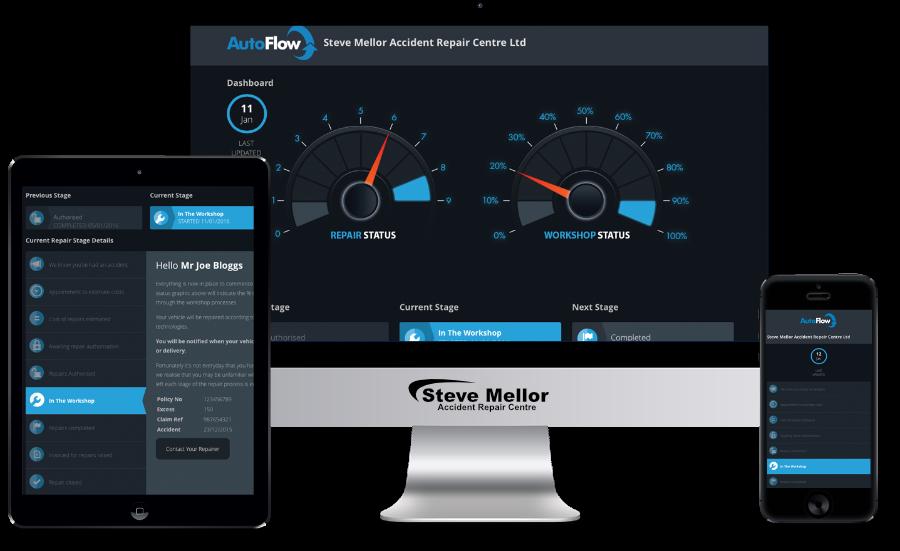 Devices showcasing vehicle repair tracker